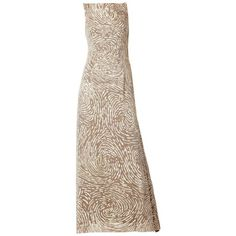 Preowned Oscar De La Renta Sequined And Chiffon Gown (£990) ❤ liked on Polyvore featuring dresses, gowns, evening gowns, beige, sequin evening dresses, brown evening gowns, sequin dresses, chiffon evening gowns and brown dress