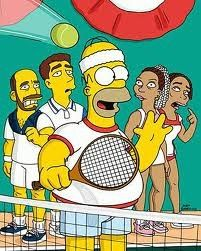 una imagen divertida de los simpsons haciendo deporte