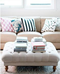 This DIY ottoman tutorial caught my eye because A the one in the