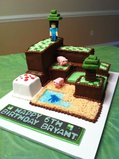 Minecraft cake!!  Cute layout!  Maybe tootsie rolls for the trees?