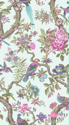 cole and sons wallpaper | Fontainebleau by Cole & Son - Rose Pink & Duck Egg : Wallpaper Direct