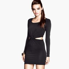 Free Shipping Knotted around the waist hollow design long-sleeved dress short paragraph $22.88