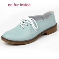 Shoes Woman 2017 Genuine Leather Women Shoes Flats 4Colors Loafers Lace Up Women's Flat Shoes Moccasins P005