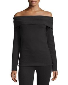 W0EXV THE ROW Lupino Off-the-Shoulder Top, Black