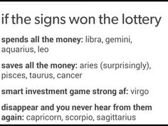 The Zodiac Book:Signs if they won the lottery - Zodiac stuf from fb or tumblr. thanks for 12k reads...! -phantom <3 #horoscopesigns
