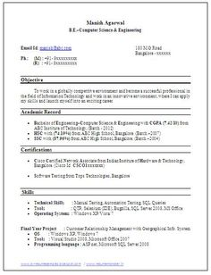 Sample Template Example Of Beautiful Excellent Professional Curriculum Vitae  / Resume / CV Format With Career  Resume Cv Format