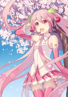 alternate_haircolor happy hatsune_miku long_hair pink_eyes pink_hair sakura sakura_miku tiwntails vocaloid
