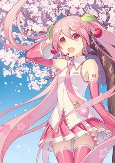 alternate_haircolor happy hatsune_miku long_hair pink_eyes pink_hair sakura sakura_miku tiwntails vocaloid