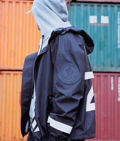 """The exclusive Moncler """"O"""" Spring/Summer 2017 collection is the second part of the partnership between Moncler and Off-White C/O Virgil Abloh. Once again the source of inspiration is the Arctic Ocean and North Sea fishermen, who. Urban Fashion, Mens Fashion, Fashion Trends, Off White Designer, Outdoor Fashion, Summer Jacket, Moncler, New York Fashion, Streetwear"""