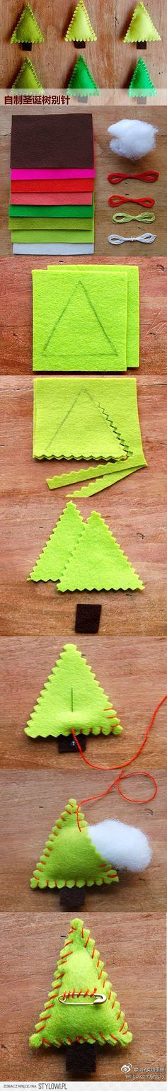 How to make cute Christmas tree clothpin step by step D… na Stylowi.pl