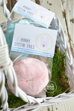 Easter Bunny Cotton Tails Gift Idea and Free Printable Bag Toppers via Amy Huntley (The Idea Room)
