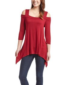 Look at this #zulilyfind! Red Cutout-Shoulder Sidetail Tunic #zulilyfinds