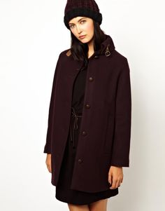 Sessun Wool Coat with Leather Tab Detail