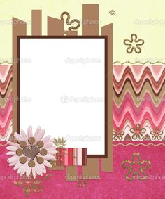 scrapbook layouts | Modern scrapbook layout with photo frame and flowers | Stock Photo ...