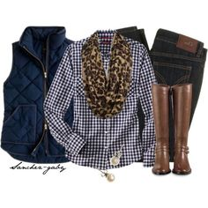 Check top, vest, leopard scarf, skinnies and boots. fall or spring, great for a local hike (with real hiker boots ofc) Vest Outfits, Mode Outfits, Casual Outfits, Fashion Outfits, Womens Fashion, Fashion Trends, Leopard Scarf Outfits, Fashion Scarves, Fashion Lookbook