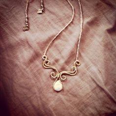 MAGICAL BRASS & PEARL necklace weddind jewelry tibal ,bohemian ,Gypsy jewelry ,primitive tribal crafts