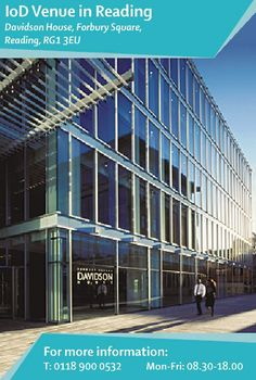 Davidson House, in the centre of town, is home to IoD hub #Reading. The stunning floor-to-ceiling glass building is a five minute walk from #Reading railway station and easily accessible from the #M4 at junction 10. Find out more: http://www.iod.com/your-venues-and-benefits/iod-venues/reading