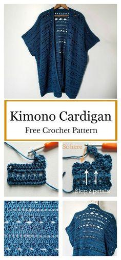 Waters Edge Kimono Cardigan Free Crochet Pattern - Do It Yourself And Crafts Cardigan Au Crochet, Crochet Jacket, Kimono Cardigan, Crochet Shawl, Knit Crochet, Crochet Sweaters, Crochet Edgings, Crochet Vests, Crochet Motif