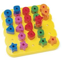 "Stacking Shapes Pegboard - 25 Pieces - Practice colors, shapes, sorting, stacking and much more! Set includes 25 pegs in 5 different colors and shapes. Pegboard measures 9 1/2"". Ages 3 years and up. Latex-Free    $19.49"