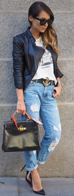 #fall #style #looks Black Leather Jacket + Graphic Tee + Boyfriends + Loubs