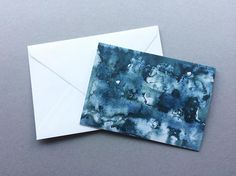 Blue Abstract Watercolour - A6 Charity Greetings Cards
