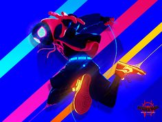 Miles Morales - Spider-Man: Into The SpiderVerse 🕷️ superhero character spidey marvel spiderman web branding photoshop neon motion graphic illustration graphic design gif flat design clean blue art animation Spiderman Kunst, Black Spiderman, Spiderman Spider, Spider Art, Spider Gwen, Spider Verse, Man Wallpaper, Marvel Wallpaper, Miles Morales Spiderman