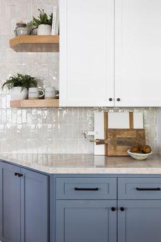 Turtle Rock — Pure Salt Interiors Teal Kitchen Walls, Blue Kitchen Cabinets, White Kitchen Island, New Kitchen, Kitchen Decor, Kitchen Design, Brownstone Interiors, Light Blue Kitchens, Girl Bathrooms