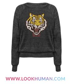 Show your love of tiny bitter Russian figure skaters with this amazing fashion tiger sweatshirt. Dress just like Yuri Plisetsky with this tiger in a bow tie a shirt.