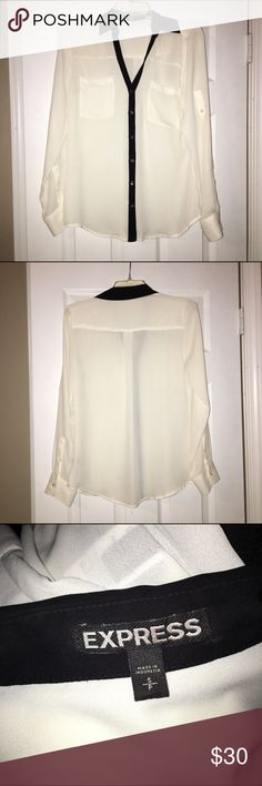 Express Black & Cream Button Down Blouse Size S, this color block button down top is from Express. Black and cream coloring in a loose flowy fabric. This is a great addition to any wardrobe! NWOT, never been worn! Bundle and save 15% or make an offer, no trades. Express Tops Button Down Shirts