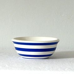 Vintage White/Blue Striped Serving/Mixing Bowl by jillbent on Etsy, $15.00