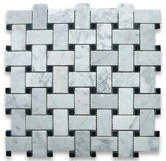 Carrara Marble Basketweave Mosaic Tile Black Dots 1x2 Polished - traditional - Floor Tiles - Stone Center Online