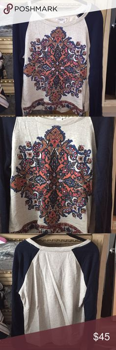 Lucky brand printed sweatshirt. Lucky brand printed sweatshirt. Perfect with jeans! Super comfy Lucky Brand Tops Sweatshirts & Hoodies
