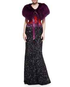 Fox Fur Stole w/ Leather Tie & Strapless Ombre Beaded Gown by Elie Saab