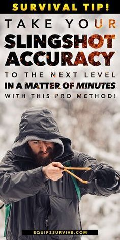 Learn how to quickly become deadly accurate with a slingshot! Let us show you how to quickly overcome the slingshot accuracy learning curve so that you can enjoy adding this versatile survival tool to…More Survival Weapons, Apocalypse Survival, Survival Life, Survival Food, Homestead Survival, Wilderness Survival, Camping Survival, Outdoor Survival, Survival Prepping