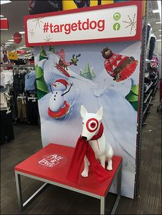 """Let your social media friends know you and Bullseye the Target® mascot are buds with this """"Pose and Post"""" in-store selfie station. Hash tagged the concept works for this Christmas scene . Best Selfies, Experiential Marketing, Store Displays, Visual Merchandising, Hanukkah, Price Tickets, Concept, Poses, Window Ideas"""