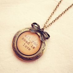 Large Antique Bronze Locket with Beatles by DearDelilahHandmade, $35.00