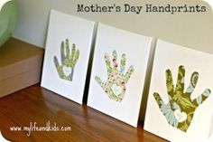 Brilliant gift idea, custom fabric or patterned paper handprints on canvas. Handmade gift for mothers day or a special occasion. More on the site