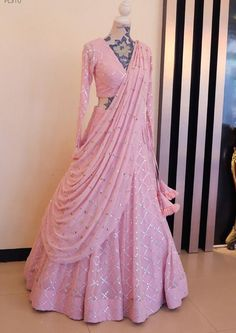 Tappeta Silk With Embroidery Paper Mirror Work , Soft Silk Lehenga , Party Wear Lehenga Choli , Gift For Women Indian Fashion Dresses, Indian Gowns Dresses, Dress Indian Style, Indian Designer Outfits, Fashion Outfits, Fashion Tips, Designer Bridal Lehenga, Bridal Lehenga Choli, Pink Lehenga
