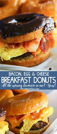 Bacon, Egg & Cheese Breakfast Donuts are the perfect blend of salty & sweet. It's all your favorite breakfast dishes in one delicious sandwich. YAY! via @KleinworthCo