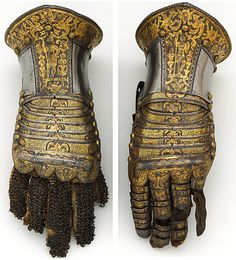 Pair of Gauntlets. Ca. 1585. Steel, gold, silver, leather. Italian (Milan).