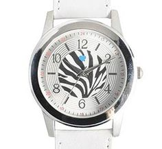 """Nurse Mates Zebra Wild Things Watch. This is a generous size dial with zebra accent design. Regular and military time. 1 ½"""" case size with white PU leather-like strap. Fits Wrist Sizes 5 1/2"""" - 8"""" . While they last!"""