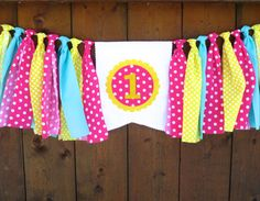 You Are My Sunshine Birthday Banner Highchair High Chair Pink Yellow Aqua Pink Lemonade First One Easter Garland Cake Smash Photo Prop Party by