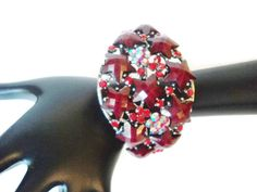 Vintage Clamper Bracelet Red Faceted Star Shaped Rhinestone Cuff by EraAntiquesandFinds on Etsy