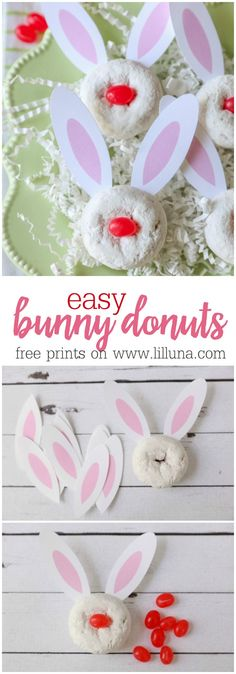 CUTE and SIMPLE Bunny Donuts - use the free printable bunny ears, add them to your powdered donuts and add a jelly bean in the middle!! So cute for Easter parties and events.