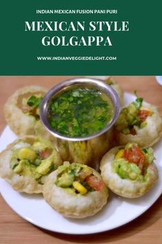 Mexican Style Golgappa with Fruit Pani Easy Healthy Recipes, Veggie Recipes, Mexican Food Recipes, Vegetarian Recipes, Cooking Recipes, Veggie Food, Rice Recipes, Cooking Tips, Healthy Snacks