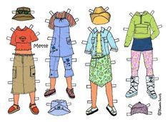 Karen`s Paper Dolls: Mette 1-3 Paper Doll in Colours. Mette 1-3 påklædningsdukke i farver.