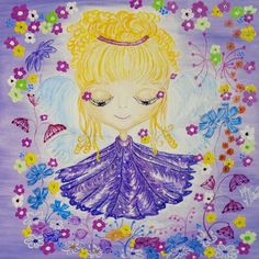 Linda - fairy for happiess,  reproduction - aquarelle paper, format 20x20cm USD 30,00 + packing and postage