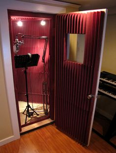 voice over studio setup -- Singers don't sing in these 'phone booth' style setups 99% of the time. But it's cozy and private for voice overs.