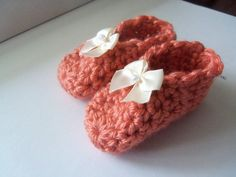 Orange Crochet Baby Booties by Roxana010 on Etsy
