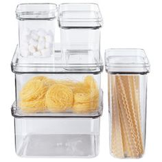 Modular Canisters    Use our Modular Food Storage collection to store bulk foods and staples like flour, rice, sugar and tea. They're smartly designed so that the pieces stack securely, making the most efficient use of your pantry or cabinet space. The lift-off lid offers a friction seal to keep your dry foods fresh. The wide opening can accommodate a scoop.